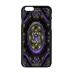 Fractal Sparkling Purple Abstract Apple Iphone 6/6s Black Enamel Case
