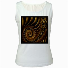 Fractal Spiral Endless Mathematics Women s White Tank Top