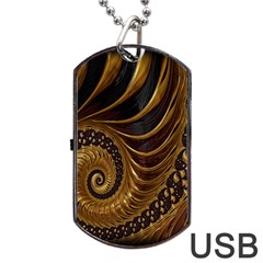 Fractal Spiral Endless Mathematics Dog Tag Usb Flash (one Side)