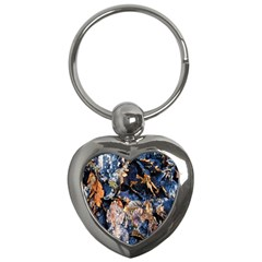 Frost Leaves Winter Park Morning Key Chains (heart)  by Nexatart