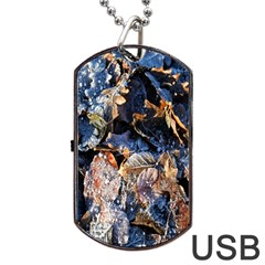 Frost Leaves Winter Park Morning Dog Tag Usb Flash (one Side) by Nexatart