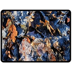 Frost Leaves Winter Park Morning Double Sided Fleece Blanket (large)  by Nexatart
