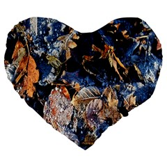 Frost Leaves Winter Park Morning Large 19  Premium Flano Heart Shape Cushions by Nexatart