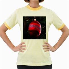 Glass Ball Decorated Beautiful Red Women s Fitted Ringer T Shirts
