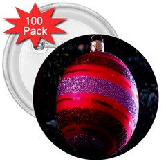 Glass Ball Decorated Beautiful Red 3  Buttons (100 pack)  by Nexatart