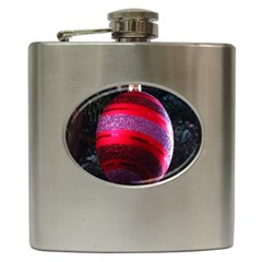 Glass Ball Decorated Beautiful Red Hip Flask (6 Oz)