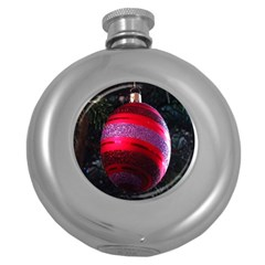 Glass Ball Decorated Beautiful Red Round Hip Flask (5 Oz)