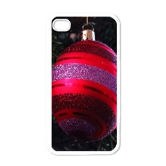 Glass Ball Decorated Beautiful Red Apple Iphone 4 Case (white) by Nexatart