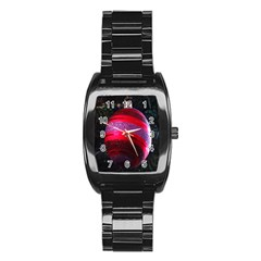 Glass Ball Decorated Beautiful Red Stainless Steel Barrel Watch by Nexatart