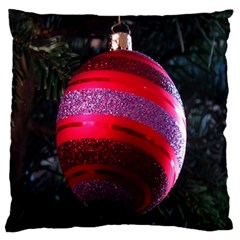 Glass Ball Decorated Beautiful Red Large Flano Cushion Case (one Side) by Nexatart