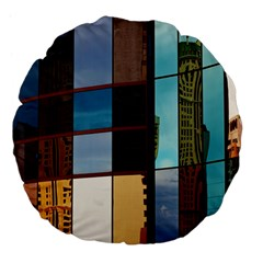 Glass Facade Colorful Architecture Large 18  Premium Flano Round Cushions