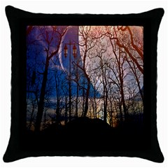 Full Moon Forest Night Darkness Throw Pillow Case (black) by Nexatart