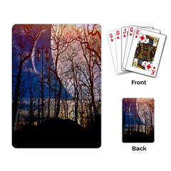 Full Moon Forest Night Darkness Playing Card by Nexatart