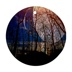 Full Moon Forest Night Darkness Round Ornament (two Sides) by Nexatart
