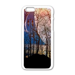 Full Moon Forest Night Darkness Apple Iphone 6/6s White Enamel Case by Nexatart