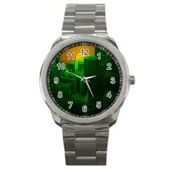 Green Building City Night Sport Metal Watch