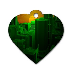 Green Building City Night Dog Tag Heart (two Sides)