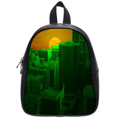 Green Building City Night School Bags (small)  by Nexatart
