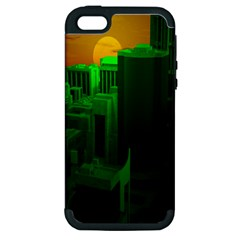 Green Building City Night Apple Iphone 5 Hardshell Case (pc+silicone)