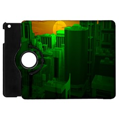 Green Building City Night Apple Ipad Mini Flip 360 Case