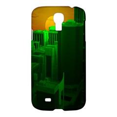 Green Building City Night Samsung Galaxy S4 I9500/i9505 Hardshell Case by Nexatart