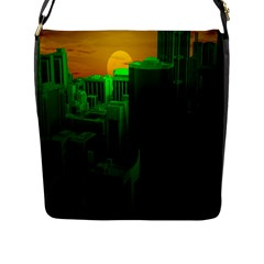 Green Building City Night Flap Messenger Bag (l)  by Nexatart