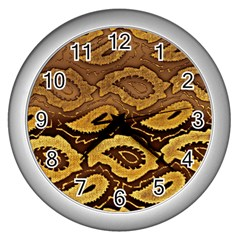 Golden Patterned Paper Wall Clocks (Silver)  by Nexatart