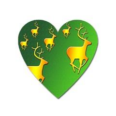 Gold Reindeer Heart Magnet