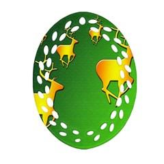 Gold Reindeer Ornament (oval Filigree)