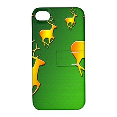 Gold Reindeer Apple Iphone 4/4s Hardshell Case With Stand