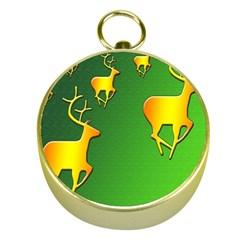 Gold Reindeer Gold Compasses by Nexatart