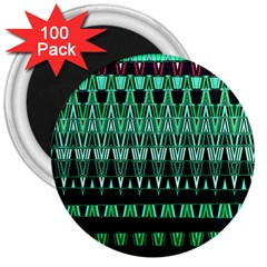 Green Triangle Patterns 3  Magnets (100 Pack) by Nexatart