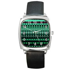 Green Triangle Patterns Square Metal Watch by Nexatart