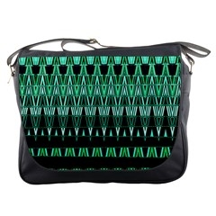 Green Triangle Patterns Messenger Bags