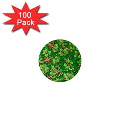 Green Holly 1  Mini Buttons (100 Pack)