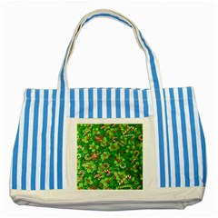 Green Holly Striped Blue Tote Bag
