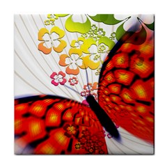 Greeting Card Butterfly Kringel Tile Coasters