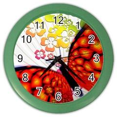 Greeting Card Butterfly Kringel Color Wall Clocks