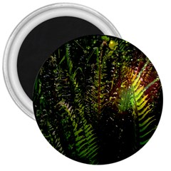 Green Leaves Psychedelic Paint 3  Magnets by Nexatart