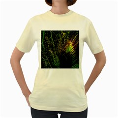 Green Leaves Psychedelic Paint Women s Yellow T Shirt by Nexatart