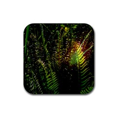 Green Leaves Psychedelic Paint Rubber Square Coaster (4 Pack)