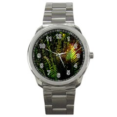 Green Leaves Psychedelic Paint Sport Metal Watch