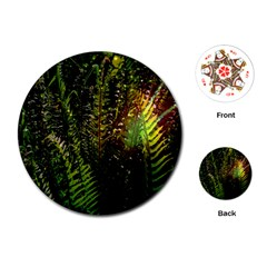 Green Leaves Psychedelic Paint Playing Cards (round)  by Nexatart