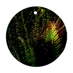 Green Leaves Psychedelic Paint Round Ornament (two Sides)