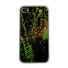 Green Leaves Psychedelic Paint Apple Iphone 4 Case (clear)