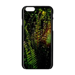 Green Leaves Psychedelic Paint Apple Iphone 6/6s Black Enamel Case by Nexatart