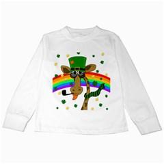 Irish Giraffe Kids Long Sleeve T Shirts by Valentinaart