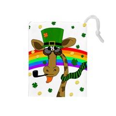 Irish Giraffe Drawstring Pouches (medium)  by Valentinaart