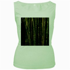 Green And Brown Bamboo Trees Women s Green Tank Top