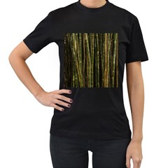 Green And Brown Bamboo Trees Women s T Shirt (black) (two Sided)